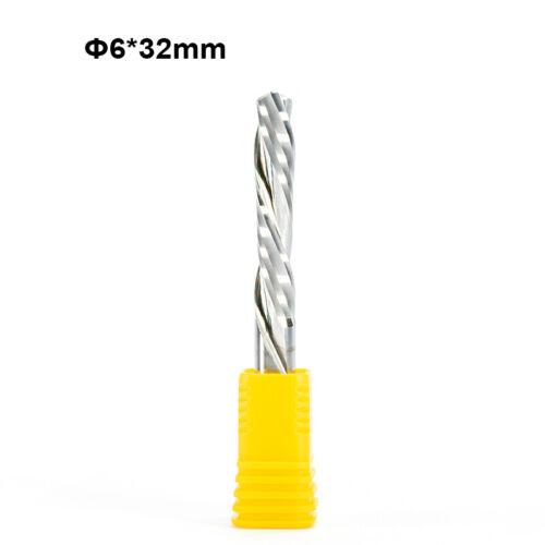 Double Flute Left-hand down cut spiral cutter wood CNC Shank 6mm CEL 32mm