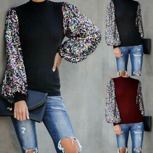 Tops-Puff-Long-Sleeve-Casual-Womens-Pullover-Sweater-Sequin-Blouse