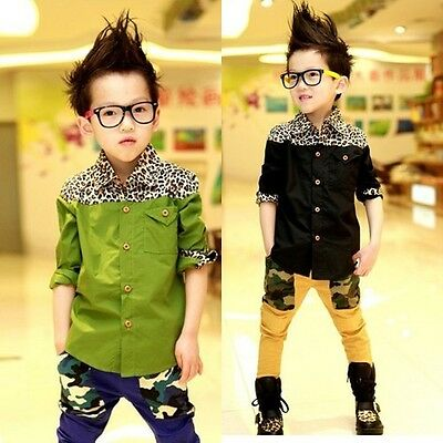 New Kids Toddlers Boys Leopard Image 100% Cotton Blouse Shirts 3-8 Y T224