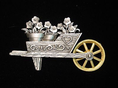 """JJ"" Jonette Jewelry 'Wheelbarrow of FLOWERS' Pin #3 ~  Wheel Moves"