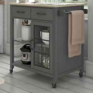 Rolling-Kitchen-Cart-with-Solid-Wood-Top-Compartmentalized-for-storage-NEW