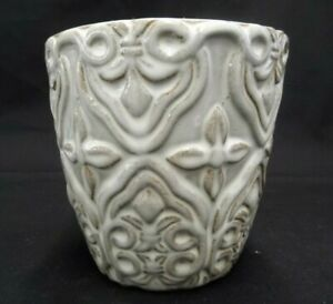 """CERAMIC CREAM AND BROWN GLAZED PLANTER ROUND EMBOSSED 4.5"""" TALL X 4.75"""" WIDE"""