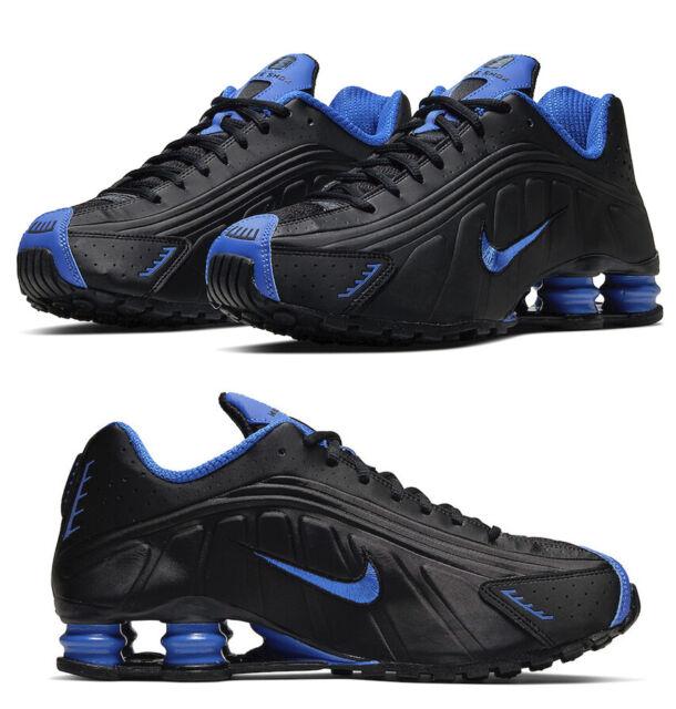 New NIKE Shox R4 athletic sneakers gym training Shoes Mens black blue siz 8 11
