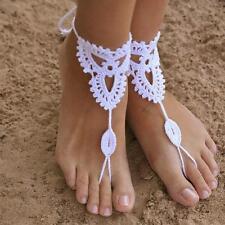 Wedding Sexy crochet Anklet Barefoot Beach Bridal Yoga Foot Jewelry Knit Sandal