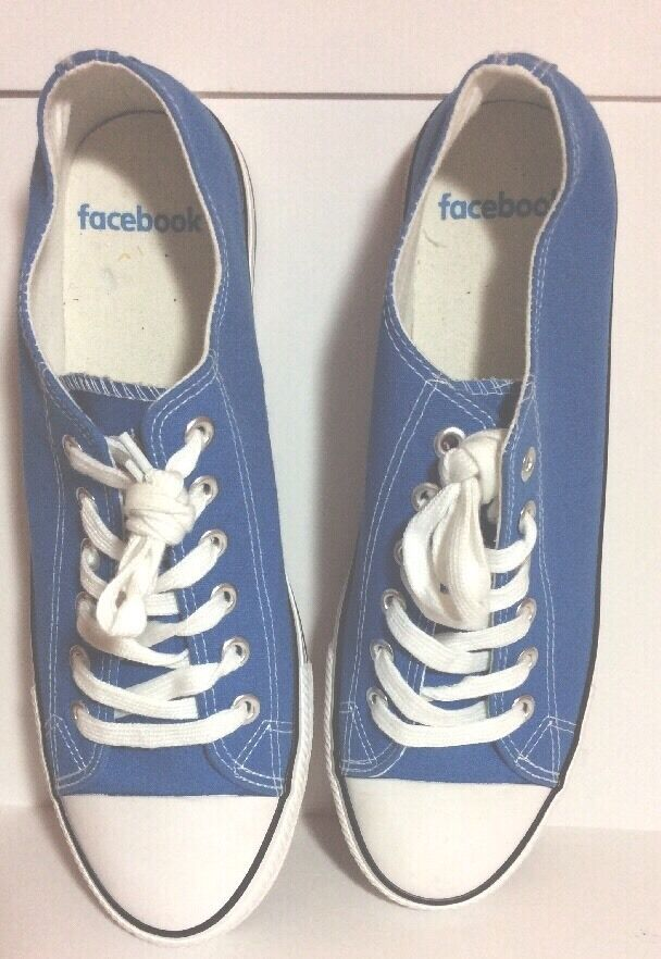 NWOB Facebook Limited Edition bluee Canvas Sneakers Men's Size 12 HTF