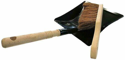 Kehrgarnitur 2 pièces de coco balayettes Kehrschaufel métal noir avec poignée en bois