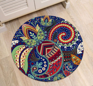 f6457af685 Details about India Ethnic Leaf Mandala Round Carpet Non Slip Home Decor  Bedroom Zen Yoga Mat