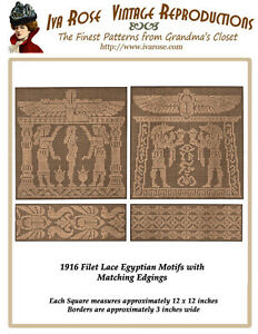 1916-Filet-Lace-Chart-Pack-Ancient-Egyptian-Style-Motif