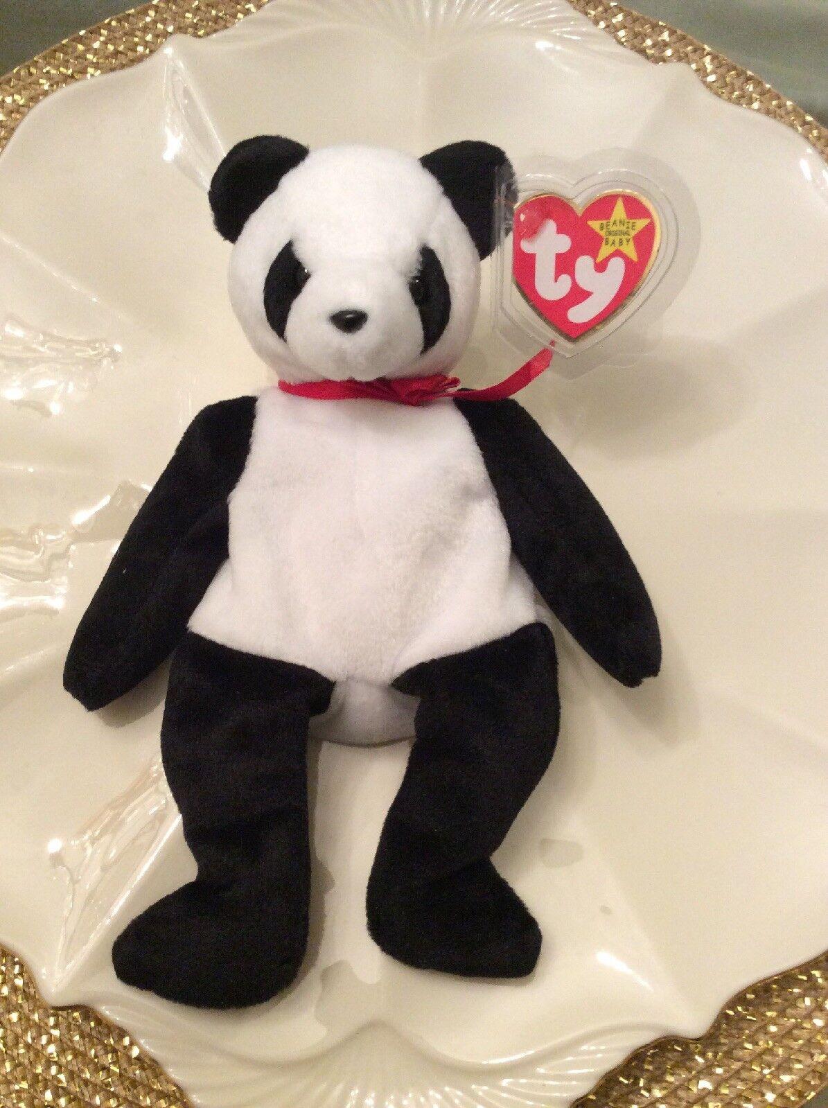 Ty Beanie Baby  Fortune  Mint Panda Bear Retired 12 6 1997 Tush Error