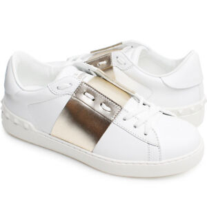36f557ffc Details about 100% Authentic Valentino Hidden Open Rock Stud Sneakers Shoes  White Gold Italy