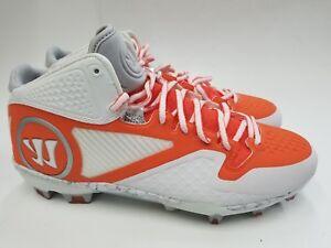 2afb681f0 Warrior Adonis 2.0 Mid Lacrosse Men s Cleats Orange White Size 12.5 ...