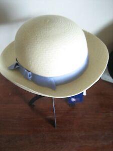 15) Un Charmant Fait à La Main Olney Panama Filles Chapeau Uni Avec Ruban Bleu Taille S-afficher Le Titre D'origine
