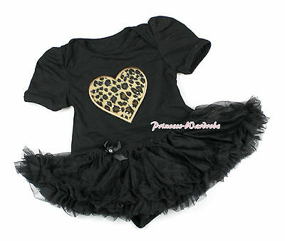 Black Leopard Heart Print Jumpsuit Bodysuit Romper Black Baby Girl Dress NB-12M