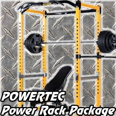 POWERTEC Power Rack WB-PR16 + IRONMASTER Super Bench + Weights Home Gym