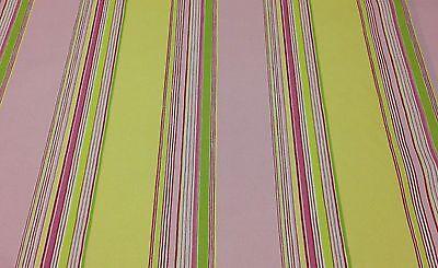P KAUFMANN PIXIE STIX WATERMELON PINK GREEN YELLOW STRIPE FABRIC BY THE YARD