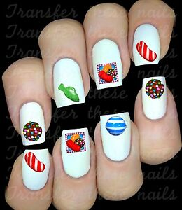30 Candy Crush Sweets Candies Nail Art Decals Water Transfers Party