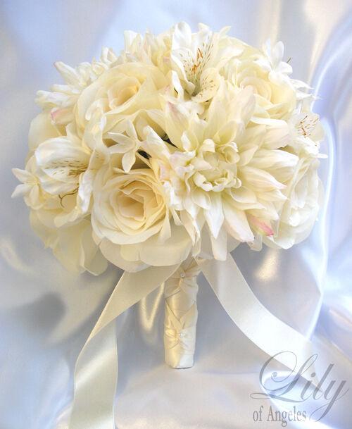 17pcs Wedding Bridal Bouquet Bride Decoration Arrangement Silk Flowers IVORY