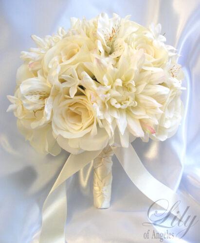 17pcs Robe de Mariage Bouquet de Mariée Décoration Arrangement Fleurs De Soie Ivoire