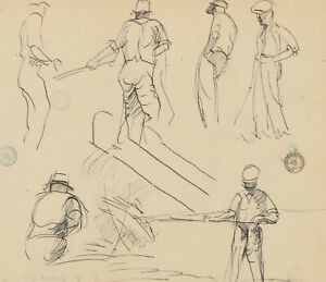 Frank Griffith (1889-1979) - Early 20th Century Pen and Ink Drawing, Figures