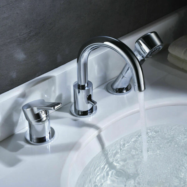 3 Hole Widespread Bathroom Sink Faucet with Pull out ...