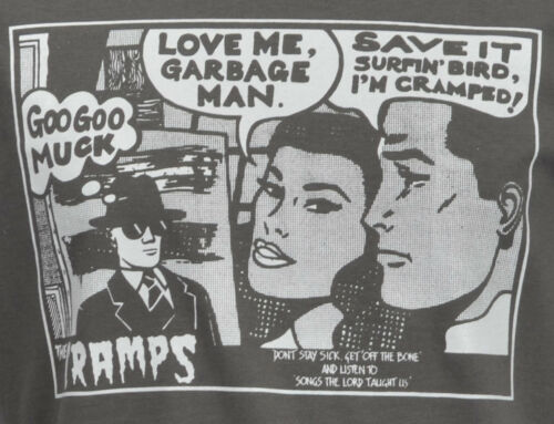 MENS DARK GREY T-SHIRT THE CRAMPS GOO GOO MUCK PSYCHOBILLY GARAGE COMIC S-2XL