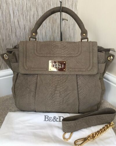 Khaki Tote York Snakeskin New £1200 Satchel Be Green amp;d Suede Retail Bag RxwnHZ