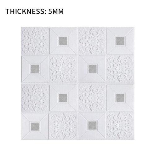 5PCS 3D Tile Carved Wall Sticker Foam Waterproof Self-adhesive Wallpaper  Panel