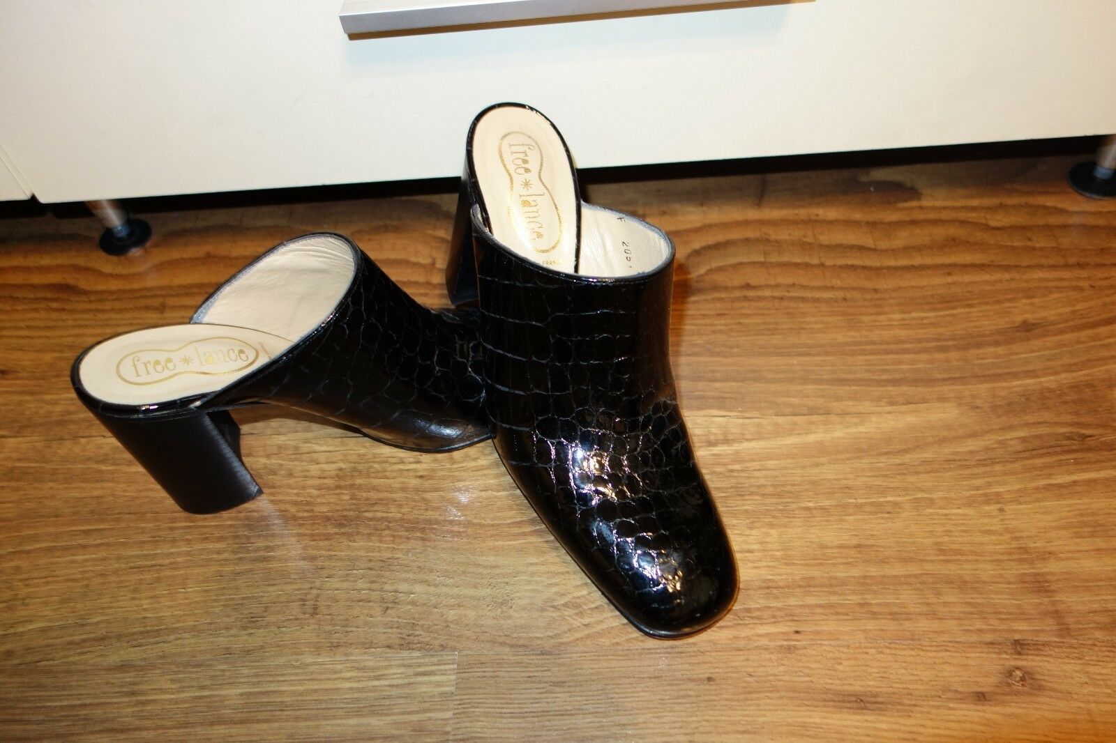 Great Free Lance Paris croco talons, noir, Taille UK 5, eu 38, made in France