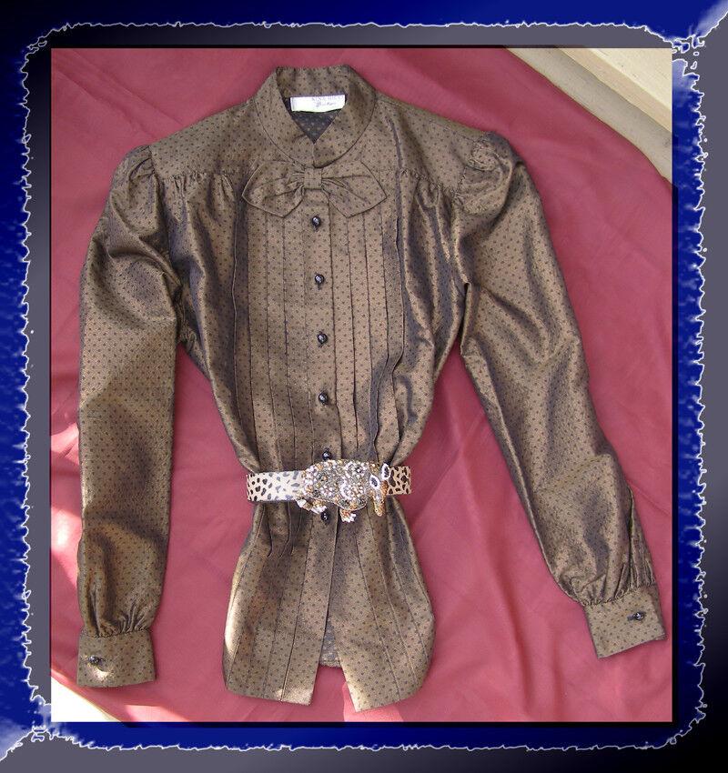 Vintage NINA RICCI BOUTIQUE Silk Blouse 8-10 Bronze Polka Dot Print Bow Jaquard