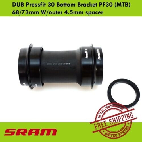 MTB SRAM DUB Pressfit 30 Bottom Bracket PF30 68//73mm W//outer 4.5mm spacer