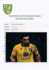 Russell MARTIN Norwich City 2009-fotografia originale firmato a mano