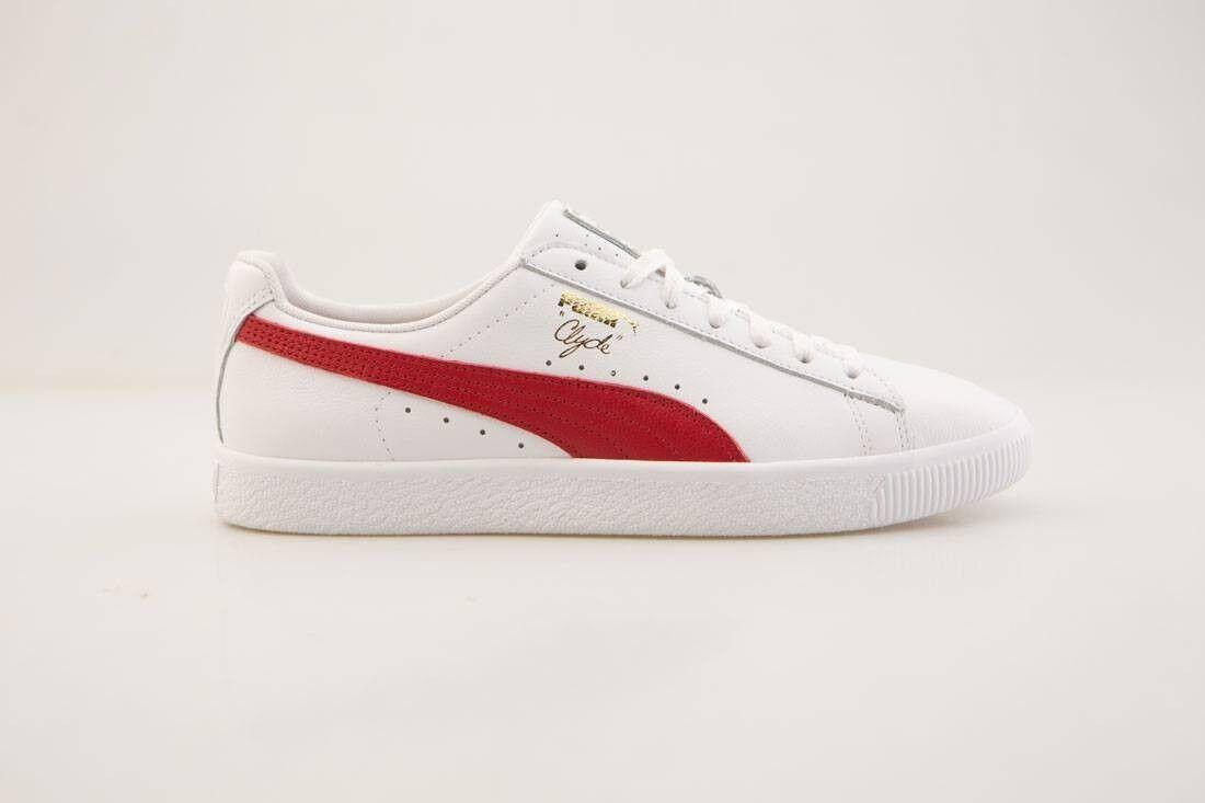 75 Puma hommes Clyde Core - Leather Foil Blanc rouge 364669-03