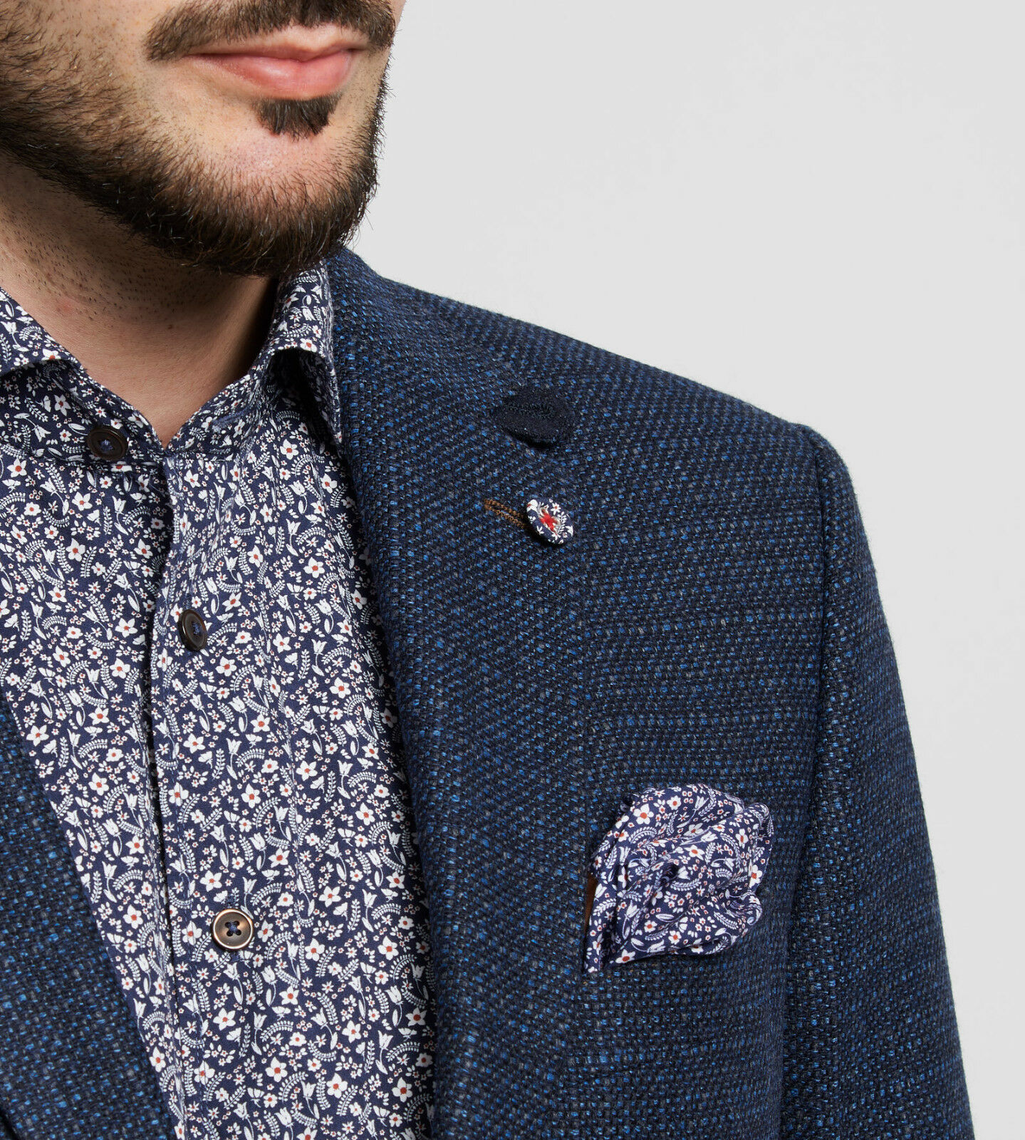 Giacca blue Marine Digel Lana Tweed Drop Quattro Corto Modern Fit Autunno Inverno