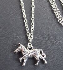"Africa Zebra (30*20mm) Tibetan Silver Charm Pendant, Long 30"" Chain Necklace"
