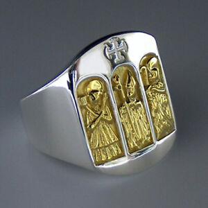 Bischof-Christen-Pastor-Pfarrer-Ring-925-Silber-Triptychon-Gelbgold-Plattiert