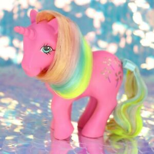 Vintage-My-Little-Pony-PINWHEEL-Pink-Unicorn-Rainbow-Hair-G1-MLP-Rehair-BA976