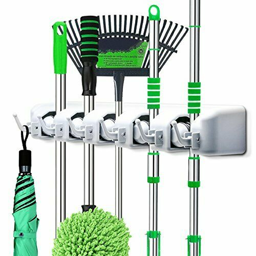 2-in-1 Wall Mounted Mop and/' Broom Rack Holder Hanger Organizer with 6 Hooks