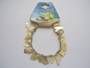 Yellow-shell-charm-7-inch-chain-bracelet