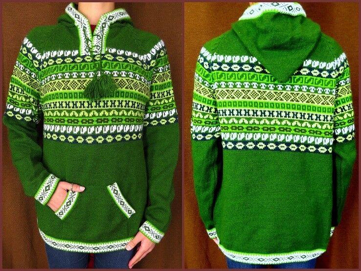 Con cappuccio Pullover verde con motivo Alpaca Lana maglione Donna Uomo Maglione Gr  M