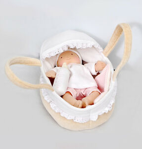 Bonikka Grace Soft Baby Ragdoll Carry Cot Bottle & Blanket 0m Doll Carrycot