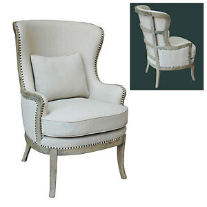 French Upholstered Accent Chair Arm Chair Linen Wood
