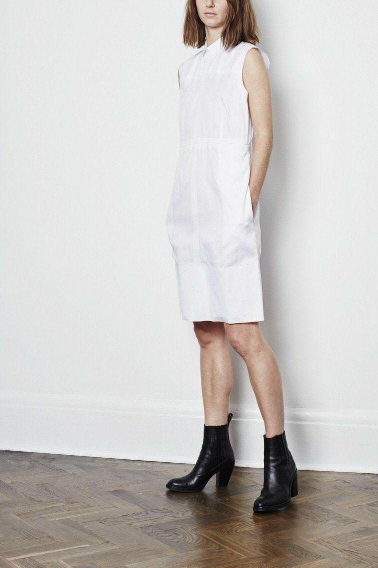 3400 Authentic CELINE  Runway Phoebe Philo White Dress Size 40FR 100% Cotton