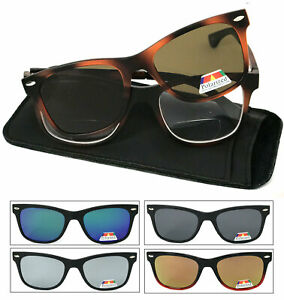 2f286f17a5c5 Mens Square Magnetic Clip On Polarized Sunglasses On Bifocal Reading ...