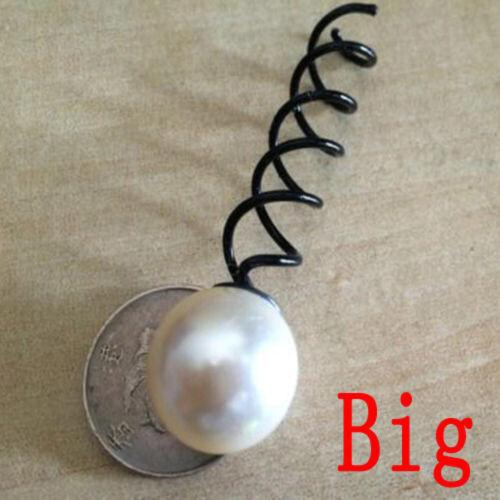 2PCS Hot Black Spin Screw Womens Cute Pearl Spiral Clip Hair Pin Barrette Twist