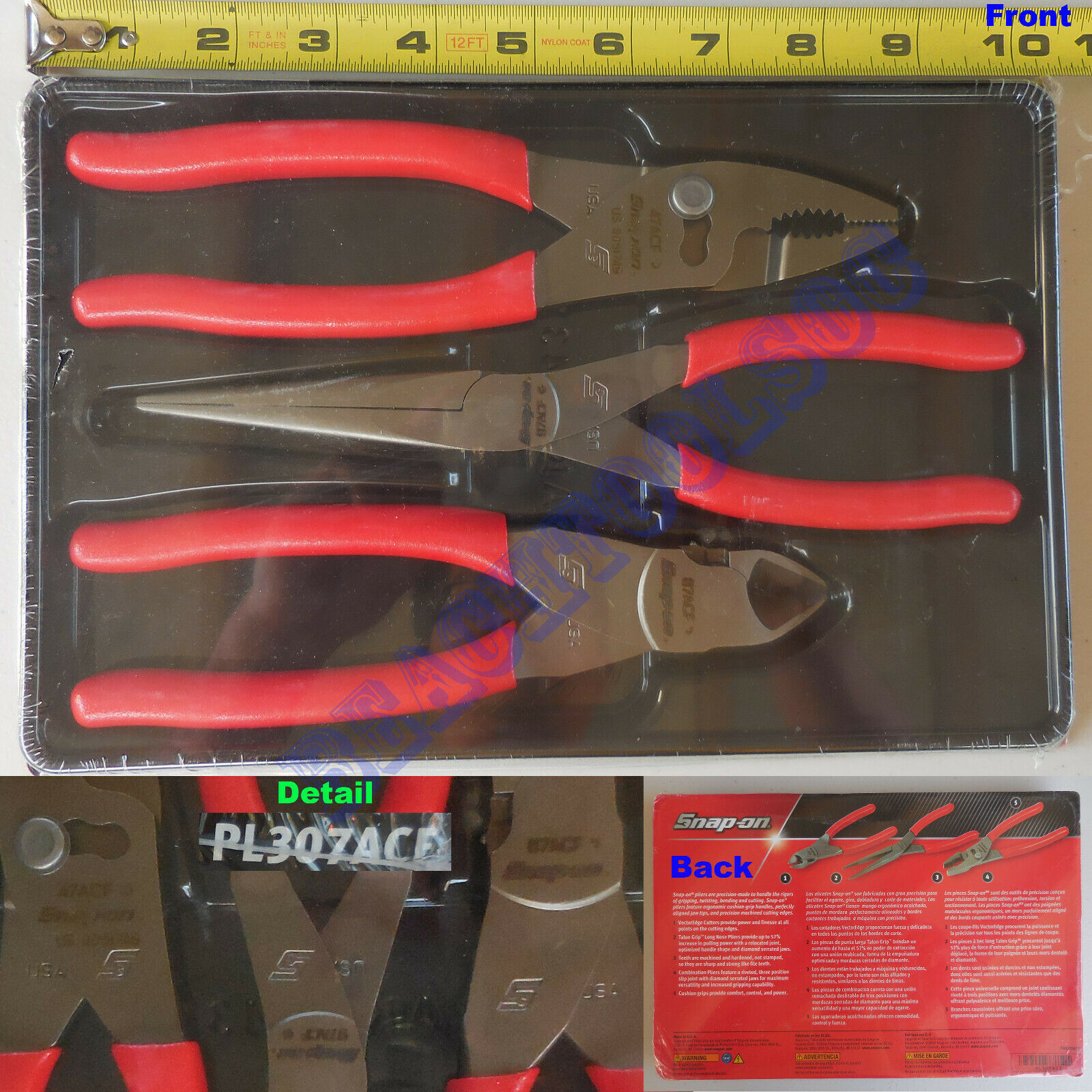 Cutters Set PL307ACF 47ACF 97ACF 87ACF SHIPS FREE NEW Snap-On 3 Piece Pliers