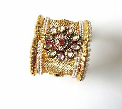 Kind-Hearted 1pc Broad Kundan Stone Gold Plated Indian Bridal Kada Openable Bangles Bracelet Bracing Up The Whole System And Strengthening It Bracelets Jewelry & Watches