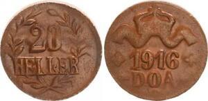 Colonies German East Africa 20 Heller 1916T J.724c Bronze (44168)