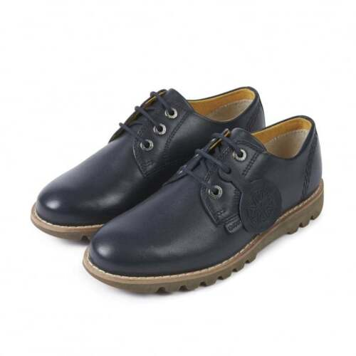 Boys Kickers KYMBO  Leather Shoes Navy  uk Size 1  eu 33  Brand New In Box