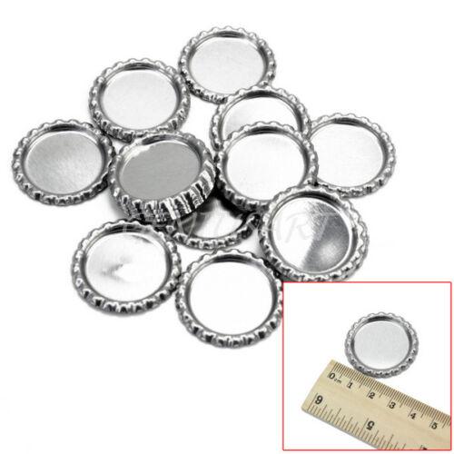 20 Pcs Bottle Caps Linerless Silver For Necklaces Keychain Bracelet Crafts DIY