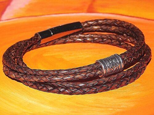 ladies black braided leather and steel clasp bracelet by Lyme Bay Art Mens